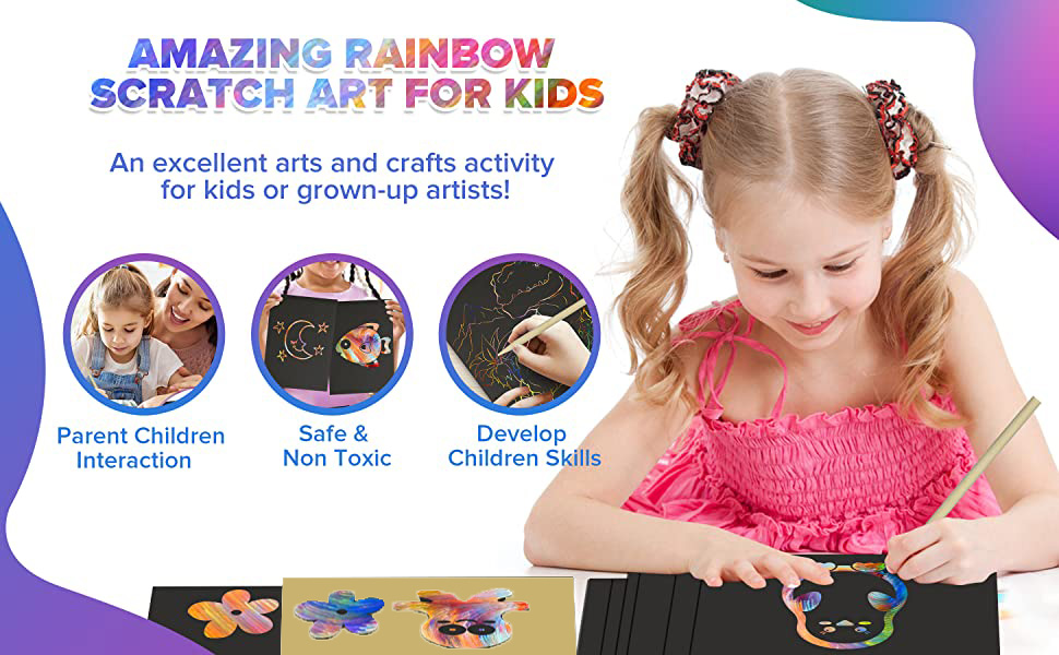 Silver Vibrant Rainbow Scratch Paper for Kids and Adults Craft Fun bago Scratch Art for Kids 70Pcs