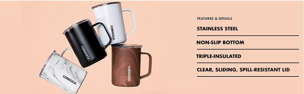 corkcicle 16oz coffee mug cup with handle