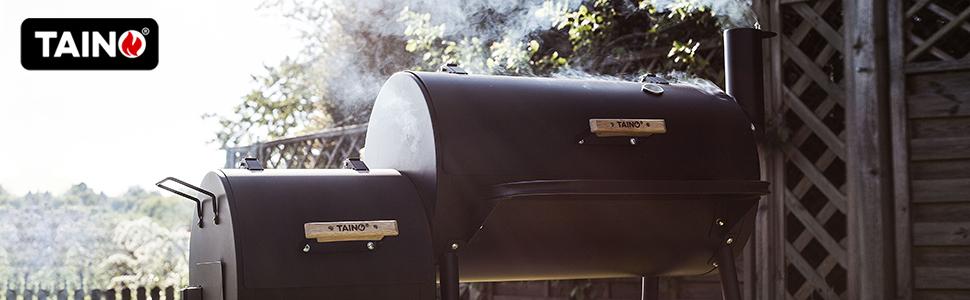taino yuma 90 kg smoker holz-kohle-grill schwarz massiv räuchern grillen smoken kaltgewalzter stahl