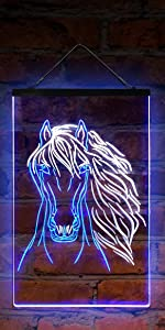 ADVPRO line-art LED neon sign light artwork wildlife home decor-ation horse-racing