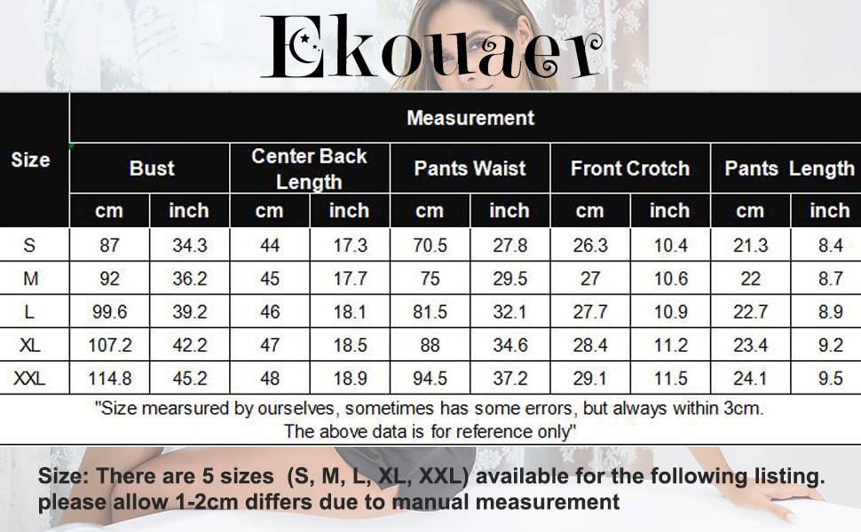 Ekoauer Women Sexy Lingerie Cami Shorts Set Pajama Set Nightwear