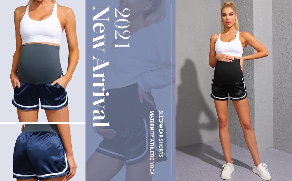 Maternity Athletic Yoga Shorts/Workout Shorts/Sleepwear Shorts