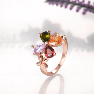 Multicolor Swiss zircon Rings Rose Gold Rings For women girls