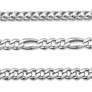 """Amberta 925 Sterling Silver Necklace for Men - Mechanic Franco Chain 18"""" 20"""" 22"""" 24"""" 28"""" in"""