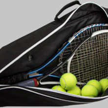 """Size at 30""""x13""""x5 that holds up to 3 tennis rackets and 9 balls"""