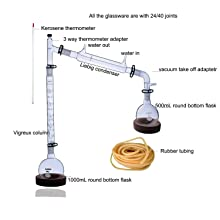 Laboy Glass Fractional Distillaton Apparatus Kit Fractionating Distilling Set with 24/40 Joints