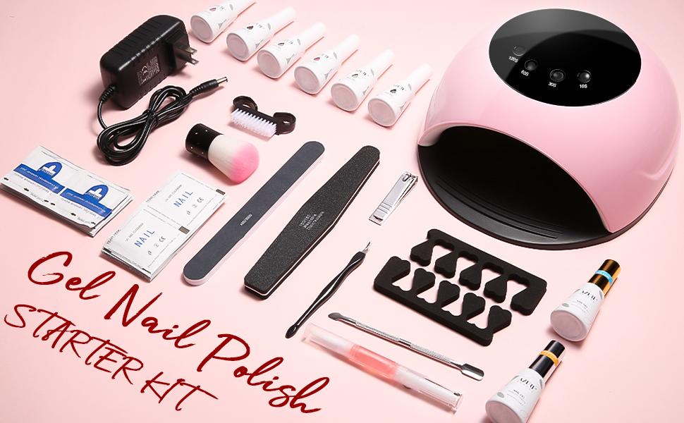 AZUREBEAUTY Gel Nail Polish Start Kit with 84W UV Nail Lamp, Gel Nail Polish Kit Nude Gray Pink 6