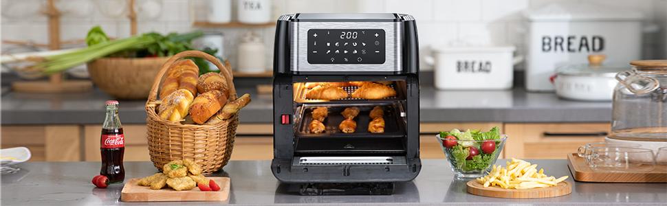 Innsky Freidora sin Aceite 10L 1500W Horno de Aire Caliente con 10 Programas, Pantalla LED Táctil, freidora de Aire Caliente con 6 Accesorios Gratis, Negro/Plateado (10 litros): Amazon.es: Hogar