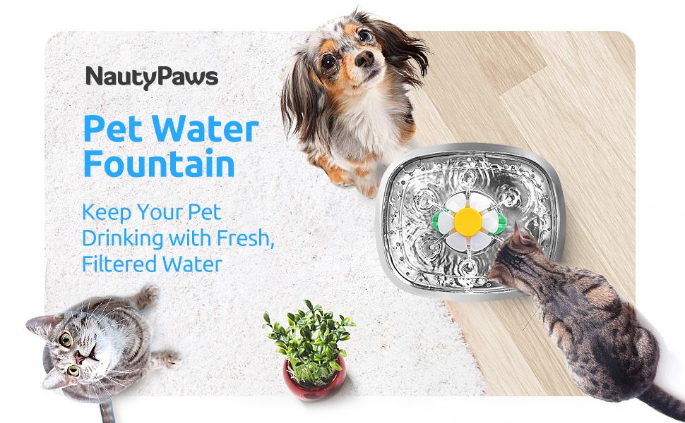 Cuenco de agua para gatos, fuente de agua para gatos, fuente de agua para mascotas, fuente de agua de acero inoxidable