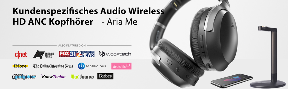 customized audo wireless headphones with charging stand for tv