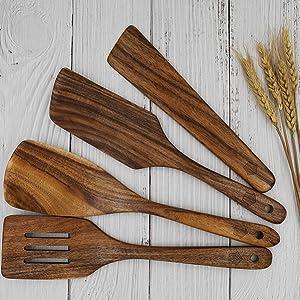 bamboo spatula, cast iron pan set, wooden scoop, spatulas for cooking, flat spatula, large spatula