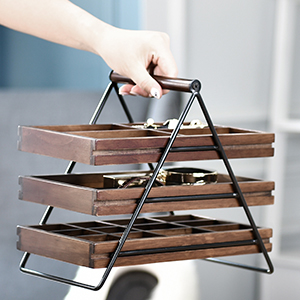 Portable handle wood tray