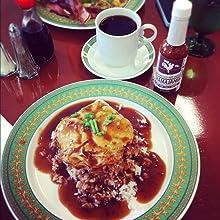 Adoboloco Hamajang Hot Sauce with Loco Moco breakfast
