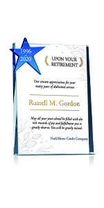 Personalized Crystal Star Employee Retirement Gift Plaque