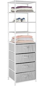 Vertical Dresser Storage Tower - Sturdy Steel Frame, Unit Textured Print 4 Shelves