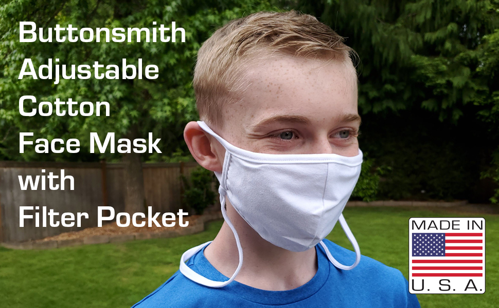adjustable face mask cotton man smiling made in usa