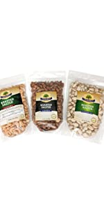 roasted salted almonds cashews pistachios mixed protein nut bundle variety