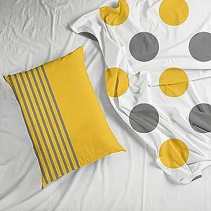 Yellow And Grey Loreto Bedsheet