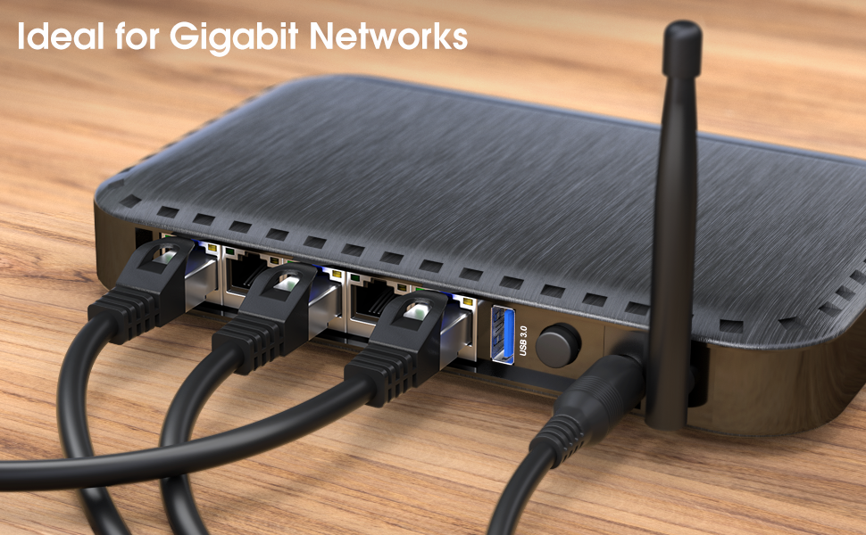 transfers Gigabit internet speed /& is compatible with Gigabit networks, Switches, Routers, Modems with RJ45 port, blue Lan /& Patch Cable KabelDirekt 50 feet x5 Ethernet Network