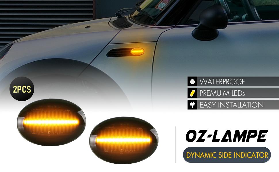 Oz Lampe Dynamischer Seitenblinker Blinker Fließender Seitenblinker Rauch Für Bm W Mini Cooper R55 Clubman R56 Hatch R57 Cabrio R58 Coupe R59 Roadster Auto