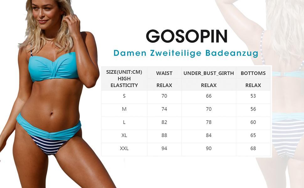 GOSOPIN Damen Bikini Set Zweiteilige Badeanzug Damen Bademode R/ückenfrei A-Linie Beachwear