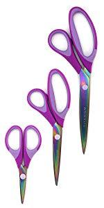 Purple titanium softgrip scissors set