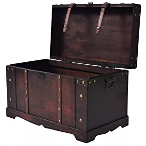 Indian Wood Chest Laundry Chest Treasure Chest Storage Box Mango Wood Red//Blue