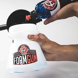 fill up foam gun with Adams Car Shampoo Instructions