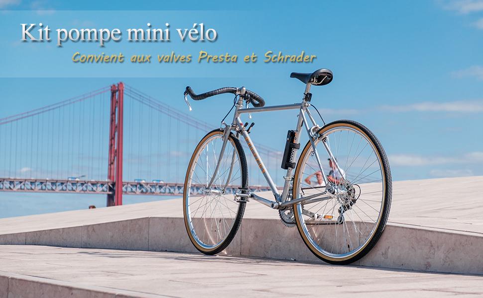 parfait ensemble complet 120 PSI Diyife Vélo pompe avec manomètre,