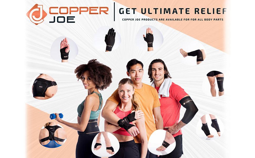 Copper compression wrist wrap brace men and women Joe Carpal Tunnel fit Arthritis Tendonitis sleeve