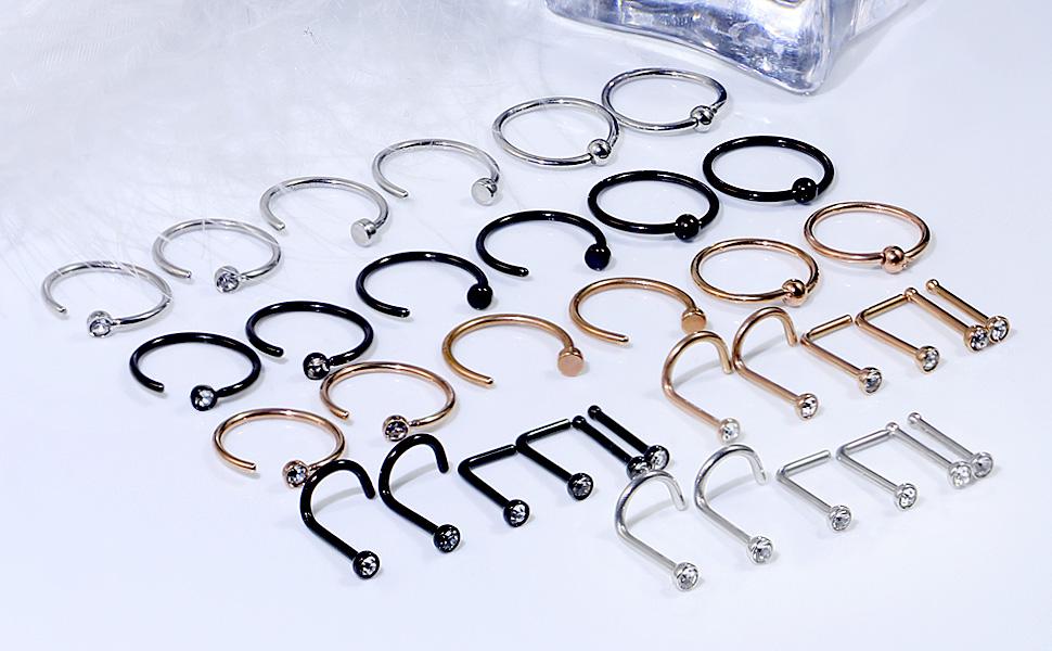Dyknasz 20G Nose Rings Hoop Surgical Steel Hoop Nose Rings for Women
