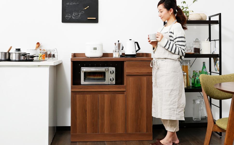 キッチンボード レンジ台 棚 食器棚 キッチンキャビネット 組み合わせ キッチンラック ミドルタイプ チェスト 収納 レンジボード 北欧 ナチュラル ウォルシュキッチンボード レンジ台 棚 食器棚