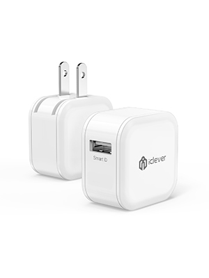 iClever USB Charger 2.4A 12W 2-Pack Wall Charger, Fast Quick Charger Adapter, Portable Travel Charger Cube with Foldable Plug for iPhone Xs/XS ...