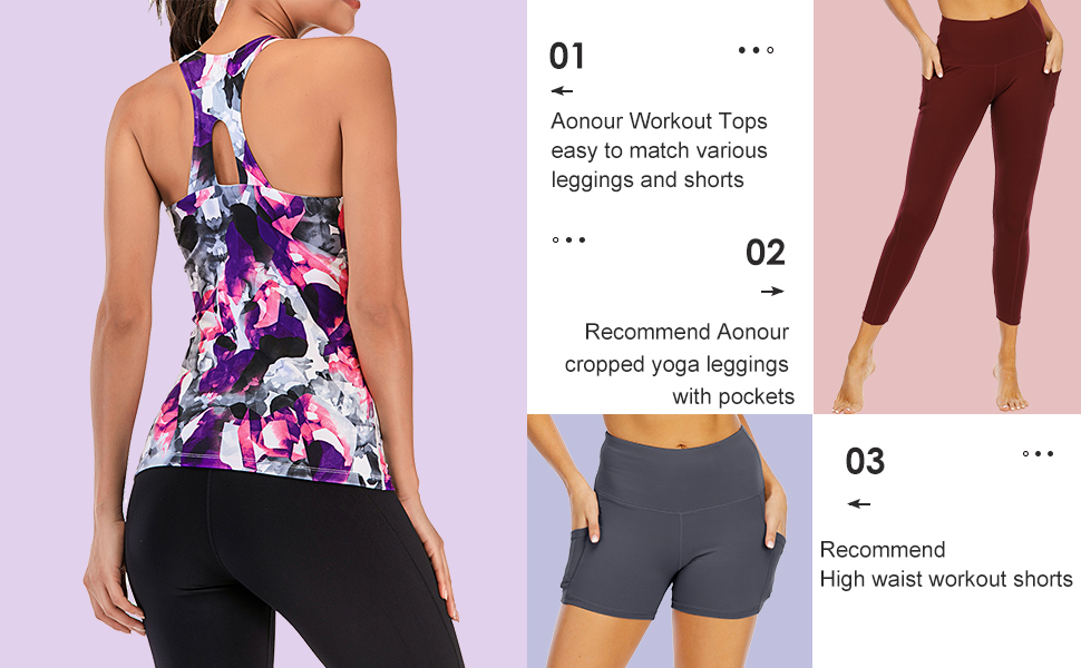 workout tops colorful print