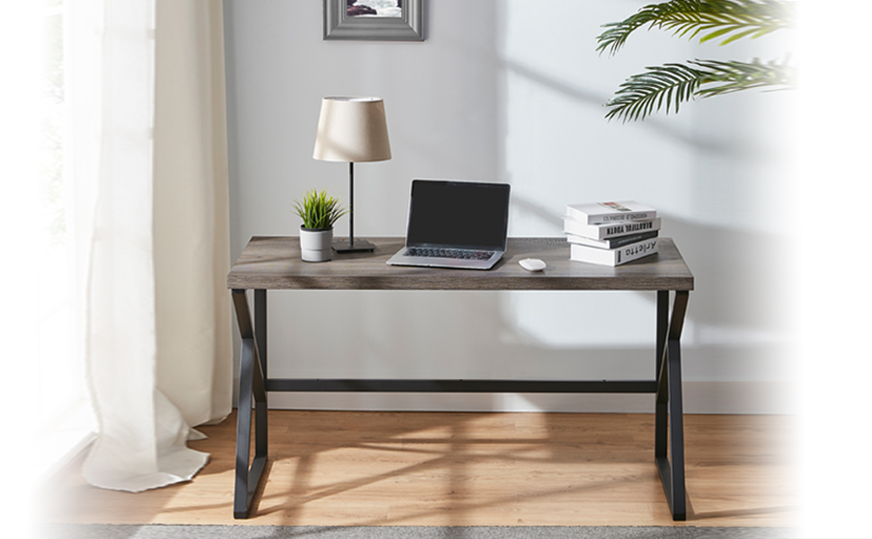HSH Industrial Home Office Desk, Metal and Wood Computer Desk, Rustic Vintage Soho55nch