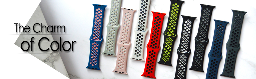 10 colour double colour apple watch bands on the picture and with the words 'The charm of color.