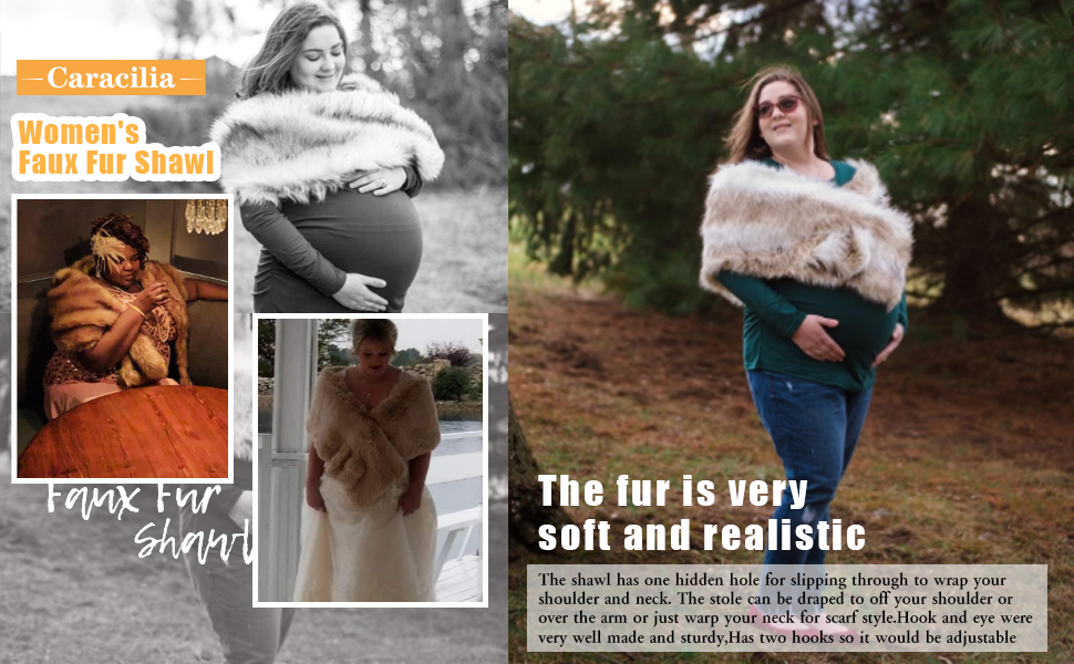 Caracilia Women Faux Fur Shawl Wraps Stole Cloak Coat Sweater Cape for Evening Party/Bridal/Wedding