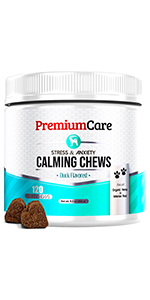 Premium care Calming Chews melatonin hemp oil for dogs stress relief anxiety supplement