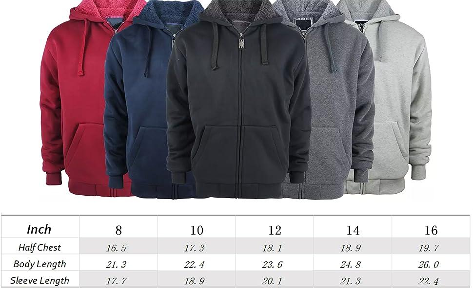 Boys Sherpa Lined Hoodie Kids Fleece Sweatshirt Full Zip Hooded Jacket