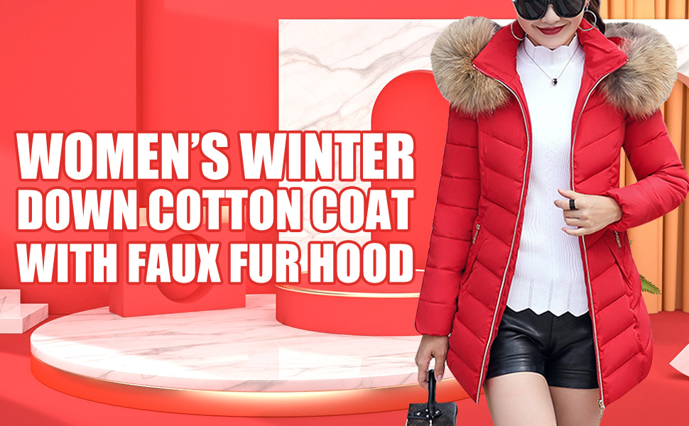 MING Women's Winter Down Cotton Coat Quilted Parka Jacket With Faux Fur Hood