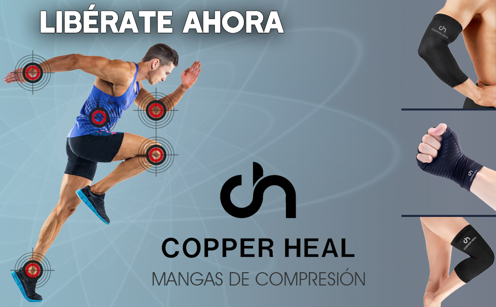 COPPER HEAL Larga Muñequera con Banda AJUSTABLE - Sirve para ambas ...
