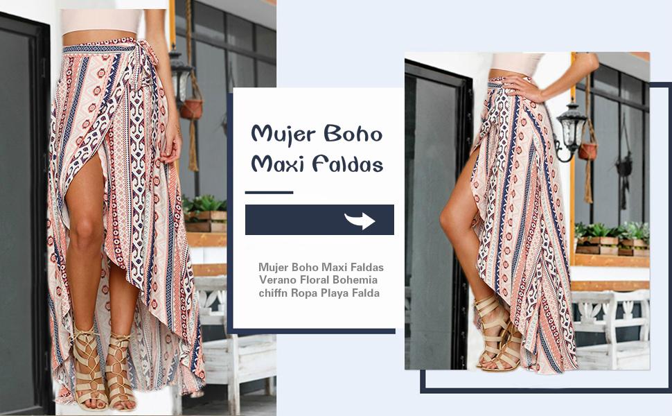 Mujer Boho Maxi Faldas Verano Floral Bohemia chiffón Ropa Playa ...