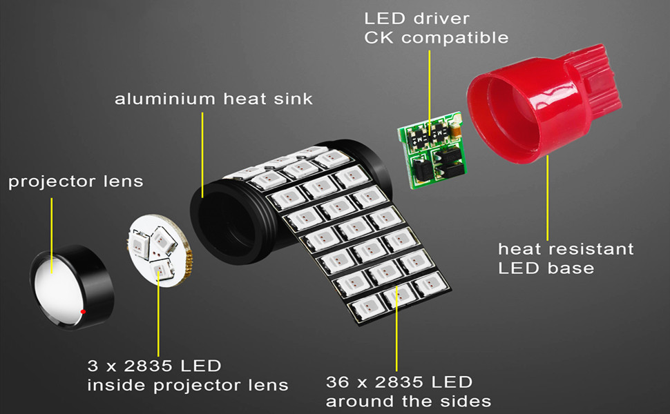 Alla Lighting Red SMD 7443 3156 3057 3157 4157 LED Bulb Brake Tail Light
