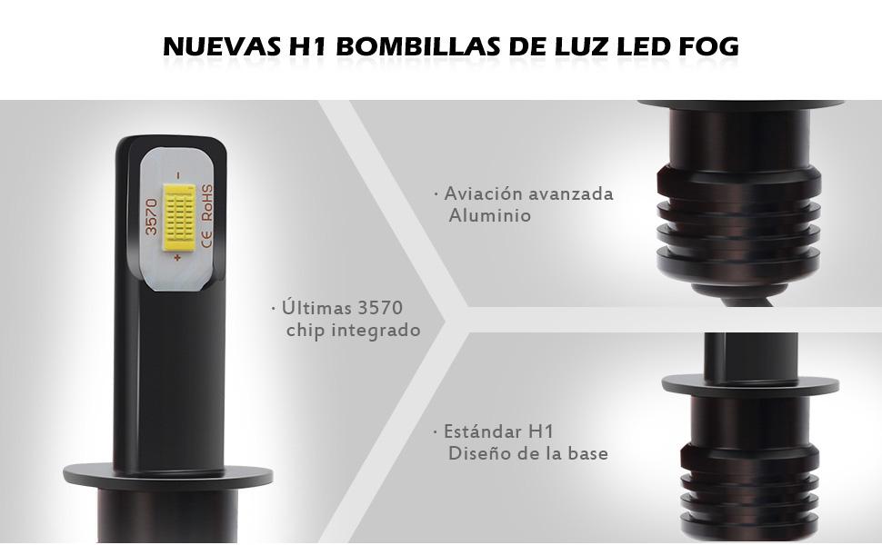 KATUR Bombillas de luz antiniebla LED H1 3570 Chipets Extremadamente Brillantes 2400 l/úmenes Solo para luz Diurna DRL o Luces antiniebla Blanco xen/ón Blanco H1