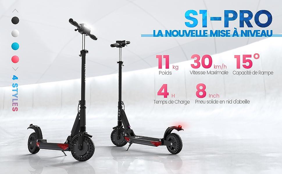 Trottinette Electrique Scooter /Électrique Moteur de 350W Pliable et R/églable en Hauteur Vitesse jusqu/à 30kmh pour Ados et Mixte Adulte S1 Pro