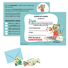 Chattychoo personalised certificate reward card  kindness activity build empathy social emotional