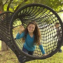 Rope Tunnel Bridge Kids Outdoor Backyard Playground Climbing Equipment Black