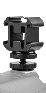 Camera Hot Shoe Mount Adapter Video Accessory Triple Cold Shoe