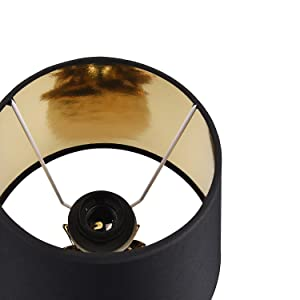 black lampshade with gold interior