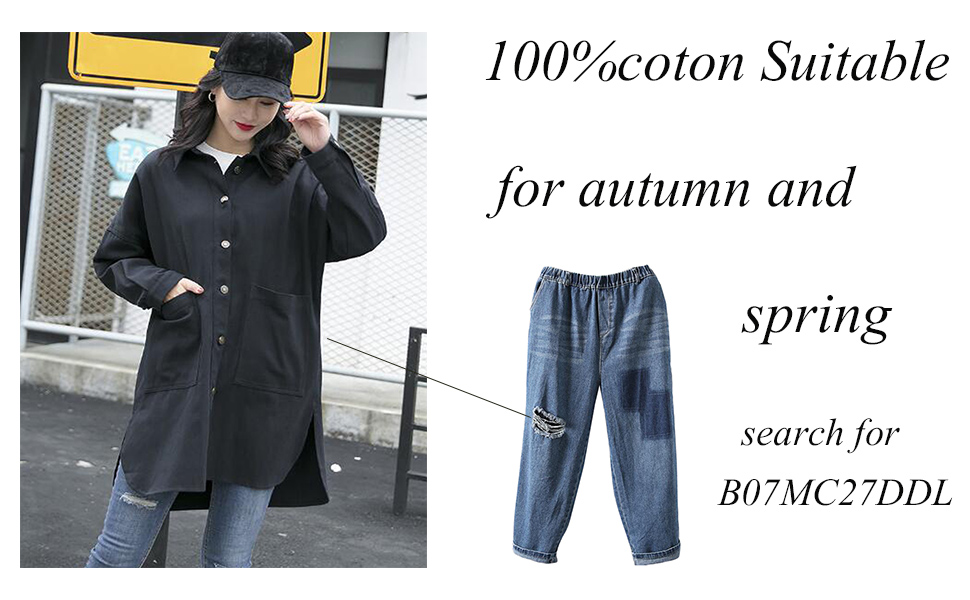 Minibee Womens Cotton Jacket Blouse Button Down Shirts Loose Outfit Lightweight Cardigan Big Pockets Plus Size Coat